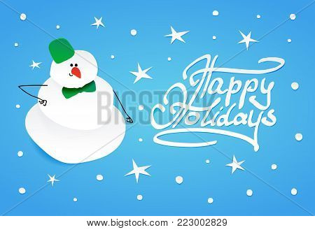 Cute intelligent snowman with green bucket on his head and green bow tie. Vector illustration on paper cutting out style