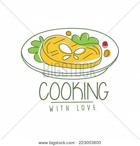 Hand drawn culinary logo original design with tasty dish. Abstract drawing of meat with greens and vegetables. Creative line label or icon for cafe, restaurant menu, cooking school. Vector on white.