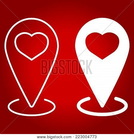 Map pointer with heart line and glyph icon, valentines day and romantic, love pin sign vector graphics, a linear pattern on a red background, eps 10.