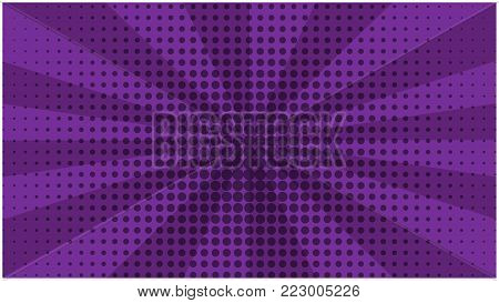 Abstract purple striped retro comic background with halftone center. Dark cartoon violet background with stripes and half tone pattern for comics book, advertising design, poster, print