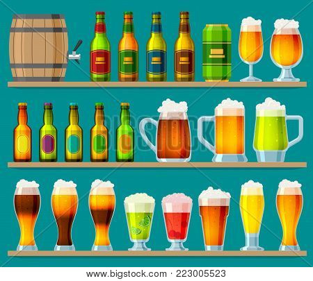Beer in beerhouse brewery vector set beermug or beerbottle and dark ale in bar on beery party with alcohol and beered up in pub illustration isolated on background.