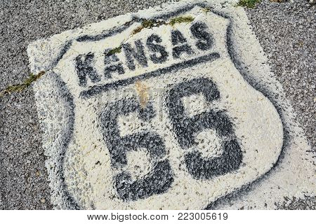 A Historic Route 66 Sign In Kansas, Usa.