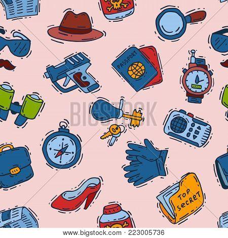 Spy icons vector cartoon detective set mafia agent binoculars or spyglass for spying or secret investigation illustration seamless pattern background.