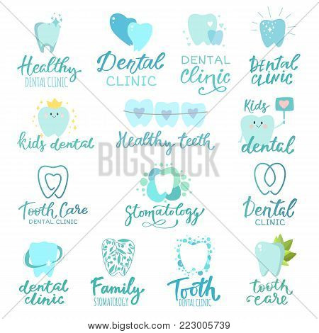 Tooth dental logo vector dentist clinic lettering toothcare icon stomatology text letter dentistry care logotype set illustration isolated on white background.