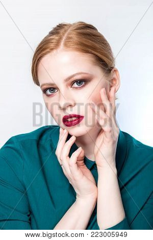 Beauty Fashion Portrait. Master Class On Makeup. Professional Studio Photo. Retouch. Very Pretty Gir