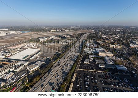 Aerial view of the 405 freeway and Long Beach airport runways in Los Angeles County, California.