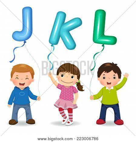 Vector illustration of cartoon kids holding letter JKL shaped balloons