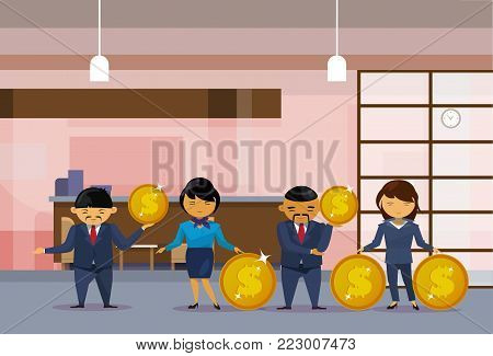 Asian Business People Group Holding Golden Coins Financial Success Profit Concept Flat Vector Illustration