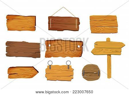 Wooden signs boards set with different shapes, vector elements. Buttons, triggers, arrow.