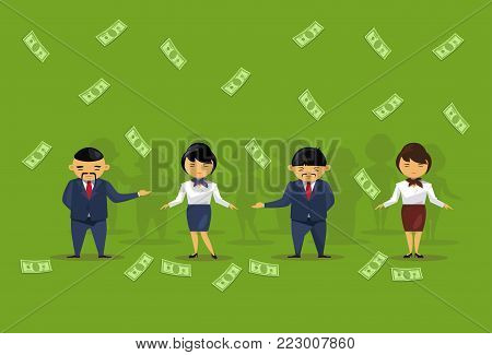 Team Of Asian Business People Holding Dollar Banknotes Salary Or Financial Success Wealth Profit Concept Flat Vector Illustration
