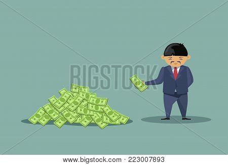 Asian Business Man Throwing Dollars In Big Heap Rich Cartoon Chinese Business Man Financial Success Concept Flat Vector Illustration