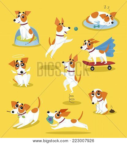 Cute jack russell terrier set, funny pet dog character in different situations cartoon vector Illustrations on a yellow background