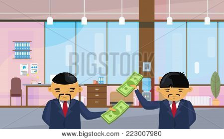 Two Asian Business Men Holding Dollar Banknotes Standing Over Office Background Salary Or Financial Success Profit Concept Flat Vector Illustration