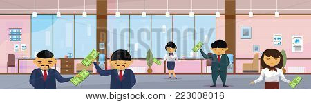 Asian Business People Group Holding Dollar In Modern Office Banknotes Salary Or Financial Success Profit Concept Horizontal Banner Flat Vector Illustration