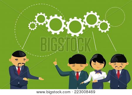 Group Of Asian Business People Brainstorming Meeting Cog Wheel Background Team Thinking New Ideas Flat Vector Illustration