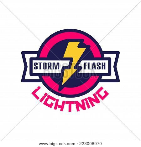 Storm flash lightning logo, badge with lightning symbol, design element for company identity vector Illustration on a white background