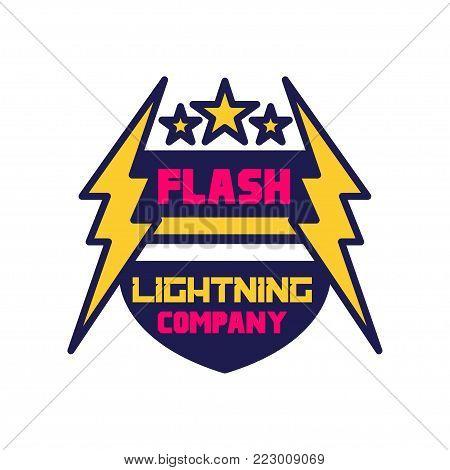 Flash lightning company logo template, badge with lightning symbol, design element for business badge vector Illustration on a white background