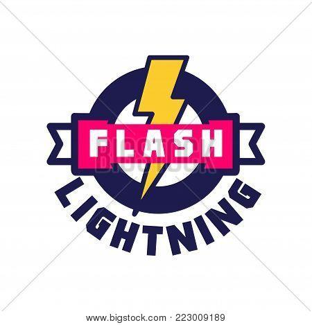 Flash lightning logo, badge with lightning symbol, design element for company identity vector Illustration on a white background