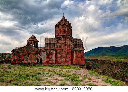 Exterior view to St. Hovhannes Karapet aka St. John the Baptist Cathedral at Hovhannavank Monastery, Ohanavan , Aragatsotn Province, Armenia