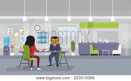 Asian Business Man And Woman Meeting Or Recruitment Interview Business People Sitting At Office Desk Discuss New Ideas Flat Vector Illustration