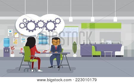 Brainstorming Meeting Asian Business People Sitting At Office Desk Discuss New Ideas Projects Flat Vector Illustration