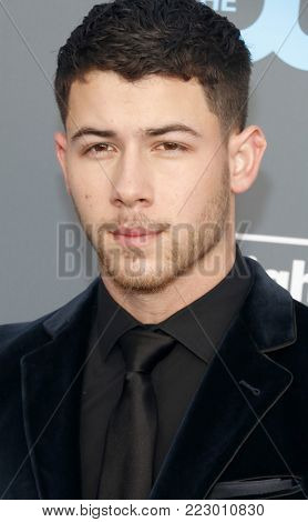 Nick Jonas at the 23rd Annual Critics' Choice Awards held at the Barker Hangar in Santa Monica, USA on January 11, 2018.