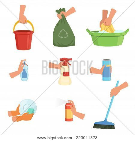 Vector set of human hands with different cleaning supplies. Bucket, garbage bag, sponge for dishwashing, detergent, plastic basin for washing, air freshener, liquid soap, brush. Cartoon flat design.