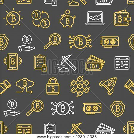 Bitcoin Currency Seamless Pattern Background on a Black for Web and App Design Cryptography Internet Commerce. Vector illustration