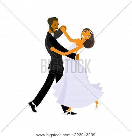 Happy young bride and groom are dance on their wedding day. Concept for the studio, wedding dance lessons. Vector illustration