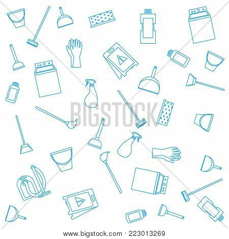 Icon set of cleaning service home work and hygiene theme Vector illustration
