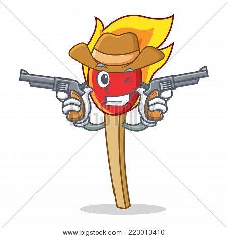Cowboy match stick character cartoon vector illustration