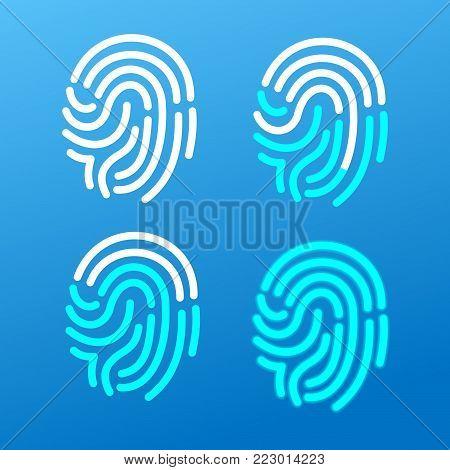 Finger Print Icon Set on a Blue Background Identification Security Concept. Vector illustration of Scanning Human Fingerprint Icons