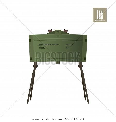 Detailed realistic image of antipersonnel mine. Army explosive. Weapon icon. Military object. Vector illustration