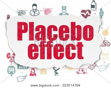 Healthcare concept: Painted red text Placebo Effect on Torn Paper background with Scheme Of Hand Drawn Medicine Icons