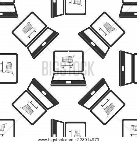Online shopping concept. Shopping cart on screen laptop icon seamless pattern on white background. Concept e-commerce, e-business, online business marketing. Flat design. Vector Illustration