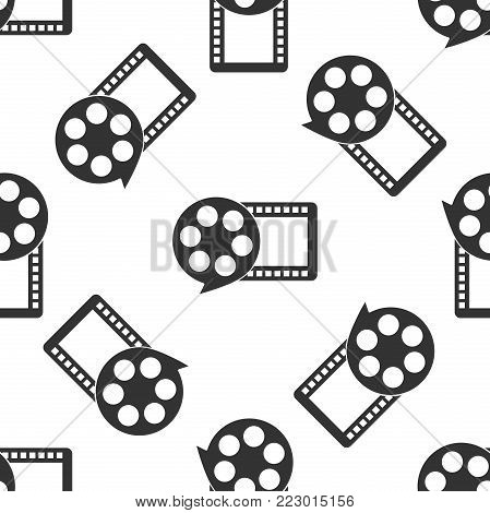 Film reel and play video movie film icon seamless pattern on white background. Flat design. Vector Illustration