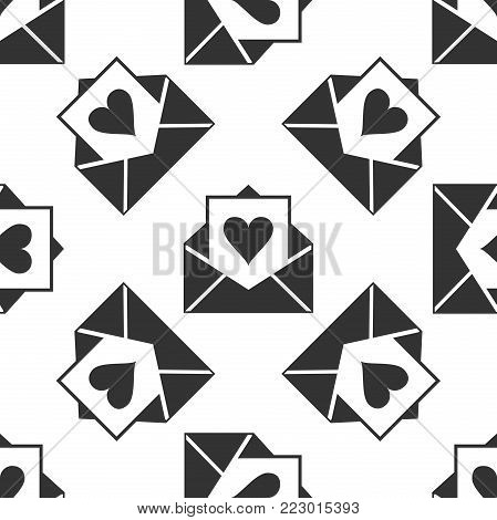 Envelope with Valentine heart icon seamless pattern on white background. Letter love and romance.