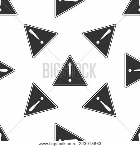 Exclamation mark in triangle icon seamless pattern on white background. Hazard warning sign, careful, attention, danger warning important information sign. Flat design. Vector Illustration
