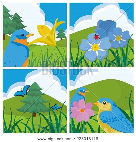 Flower clouds birds pinetree butterfly and grass of spring nature garden and floral theme Vector illustration