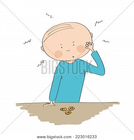 Puzzled young man standing behind the desk, looking at the little money he has, wondering what to do - original hand drawn illustration