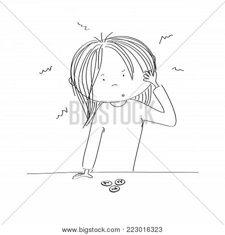 Puzzled young woman standing behind the desk, looking at the little money she has, wondering what to do - original hand drawn illustration