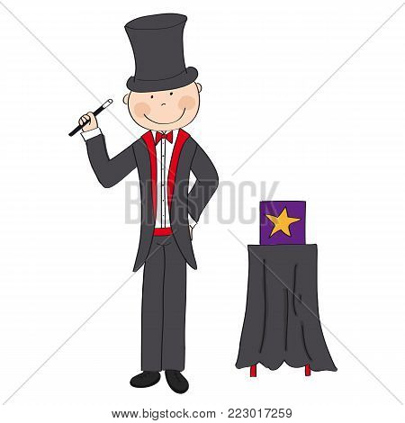 Magician / wizard standing next to the magic box and holding magic wand - original hand drawn illustration