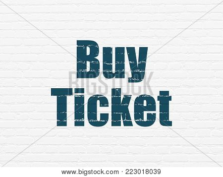 Tourism concept: Painted blue text Buy Ticket on White Brick wall background
