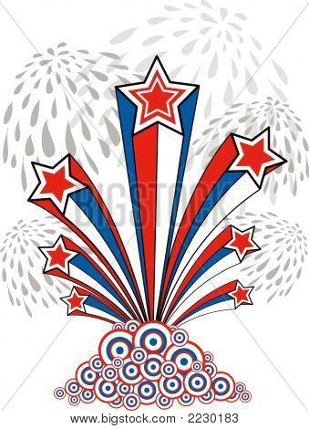 Estrelas, listras e fogos de artifício (vetor) - ilustração
