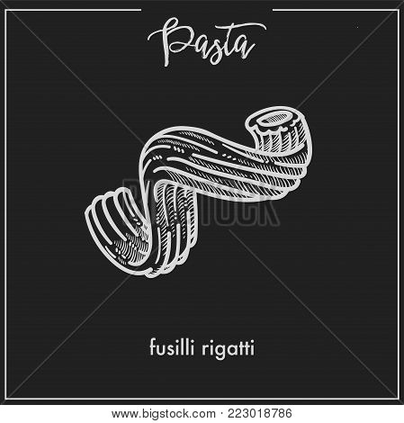 Pasta Fusilli rigatti chalk sketch icon for Italian cuisine menu. Vector isolated fusilli rigatti pasta type on black background for Italy pasta packaging or restaurant premium design template