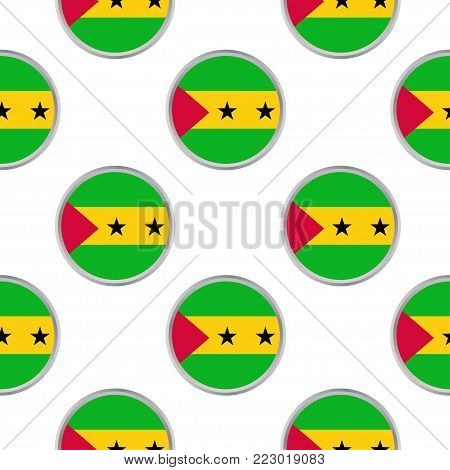 Seamless pattern from the circles with flag of Sao Tome and Principe. Vector illustration