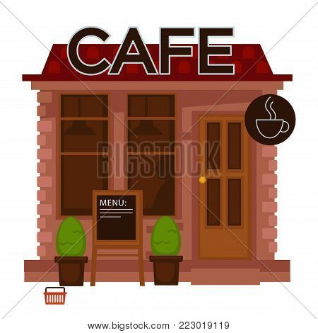 Cafe facade vector flat design isolated icon. Cafeteria building with windows, door and menu board or cafe cup sign for coffeeshop outdoor street view