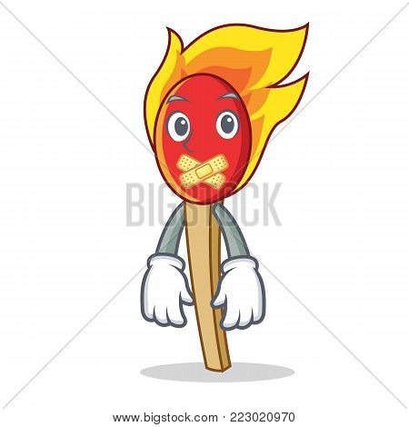 Silent match stick mascot cartoon vector illustration