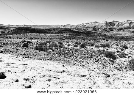 Rocky hills of the Negev Desert in Israel.  Dusty mountains interrupted by wadis  and deep craters. Black and white picture