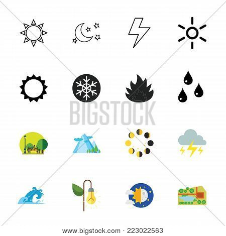 Icon set of nature symbols. Climate, weather conditions, weather forecast. Weather concept. Can be used for topics like environment, meteorology, geography